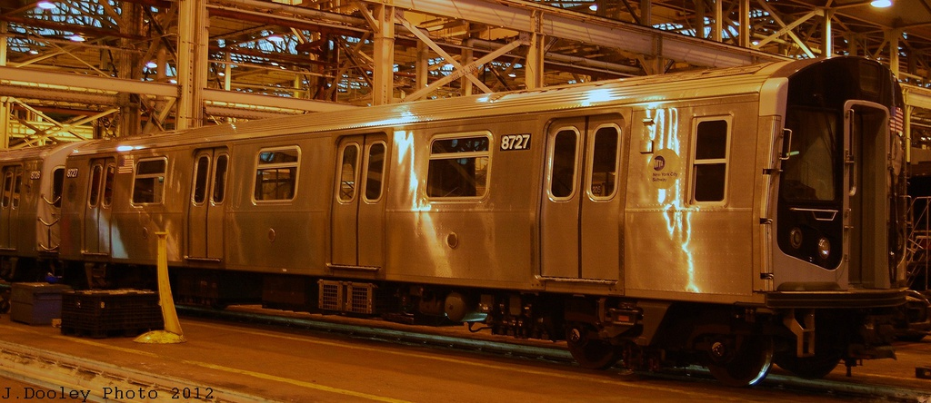 (255k, 1024x444)<br><b>Country:</b> United States<br><b>City:</b> New York<br><b>System:</b> New York City Transit<br><b>Location:</b> Coney Island Shop/Overhaul & Repair Shop<br><b>Car:</b> R-160B (Kawasaki, 2005-2008)  8727 <br><b>Photo by:</b> John Dooley<br><b>Date:</b> 12/8/2012<br><b>Viewed (this week/total):</b> 0 / 653