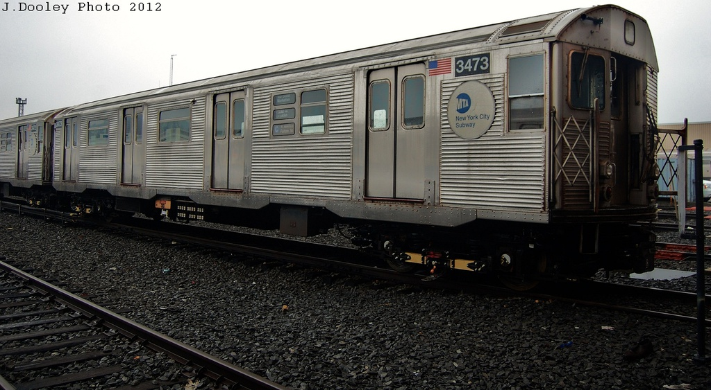 (295k, 1024x563)<br><b>Country:</b> United States<br><b>City:</b> New York<br><b>System:</b> New York City Transit<br><b>Location:</b> Coney Island Yard<br><b>Car:</b> R-32 (Budd, 1964)  3473 <br><b>Photo by:</b> John Dooley<br><b>Date:</b> 12/8/2012<br><b>Viewed (this week/total):</b> 2 / 184