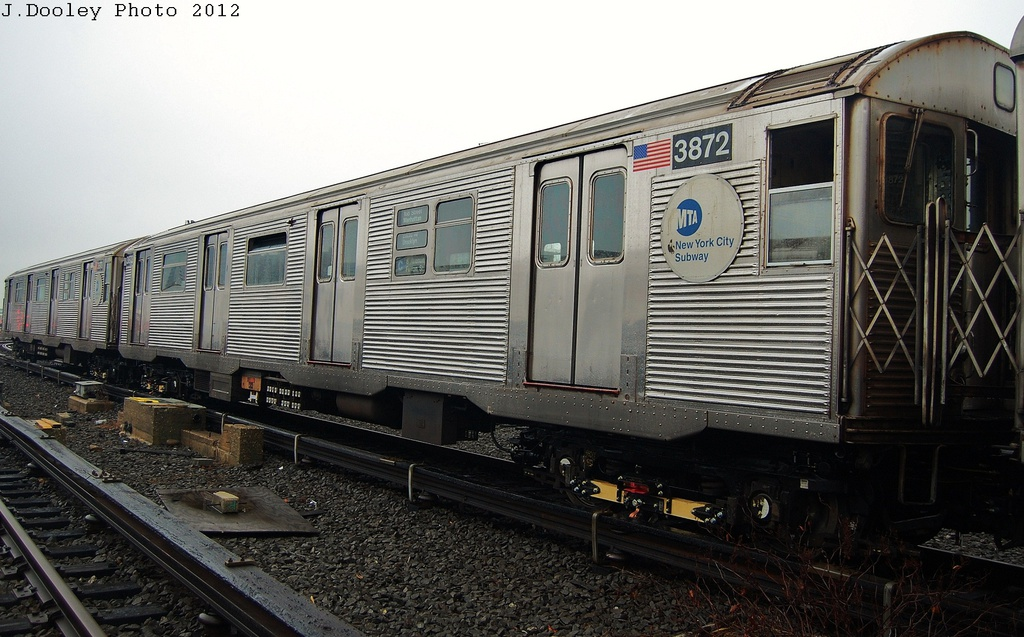(316k, 1024x637)<br><b>Country:</b> United States<br><b>City:</b> New York<br><b>System:</b> New York City Transit<br><b>Location:</b> Coney Island Yard<br><b>Car:</b> R-32 (Budd, 1964)  3872 <br><b>Photo by:</b> John Dooley<br><b>Date:</b> 12/8/2012<br><b>Viewed (this week/total):</b> 0 / 163