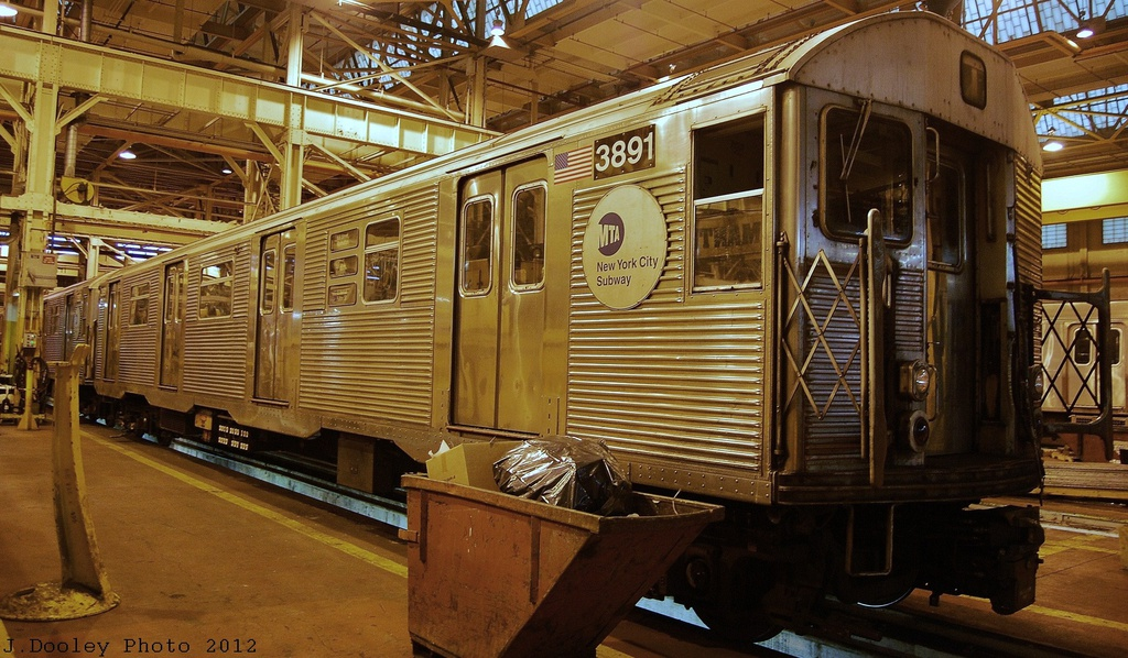 (352k, 1024x598)<br><b>Country:</b> United States<br><b>City:</b> New York<br><b>System:</b> New York City Transit<br><b>Location:</b> Coney Island Shop/Overhaul & Repair Shop<br><b>Car:</b> R-32 (Budd, 1964)  3891 <br><b>Photo by:</b> John Dooley<br><b>Date:</b> 12/8/2012<br><b>Viewed (this week/total):</b> 2 / 392