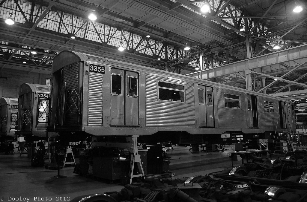 (359k, 1024x676)<br><b>Country:</b> United States<br><b>City:</b> New York<br><b>System:</b> New York City Transit<br><b>Location:</b> Coney Island Shop/Overhaul & Repair Shop<br><b>Car:</b> R-32 (Budd, 1964)  3355/3354 <br><b>Photo by:</b> John Dooley<br><b>Date:</b> 12/8/2012<br><b>Viewed (this week/total):</b> 0 / 327