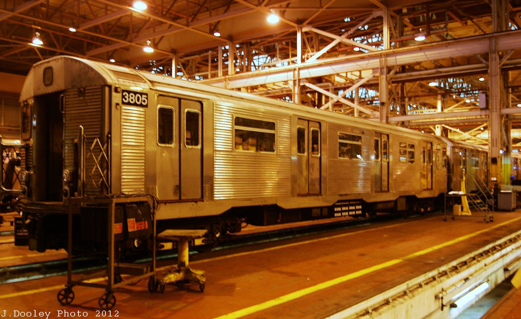 (340k, 1024x627)<br><b>Country:</b> United States<br><b>City:</b> New York<br><b>System:</b> New York City Transit<br><b>Location:</b> Coney Island Shop/Overhaul & Repair Shop<br><b>Car:</b> R-32 (Budd, 1964)  3805 <br><b>Photo by:</b> John Dooley<br><b>Date:</b> 12/8/2012<br><b>Viewed (this week/total):</b> 2 / 590