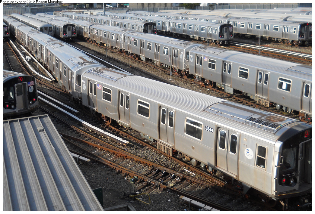 (461k, 1044x711)<br><b>Country:</b> United States<br><b>City:</b> New York<br><b>System:</b> New York City Transit<br><b>Location:</b> East New York Yard/Shops<br><b>Car:</b> R-160A-1 (Alstom, 2005-2008, 4 car sets)  8554 <br><b>Photo by:</b> Robert Mencher<br><b>Date:</b> 10/21/2012<br><b>Viewed (this week/total):</b> 1 / 288