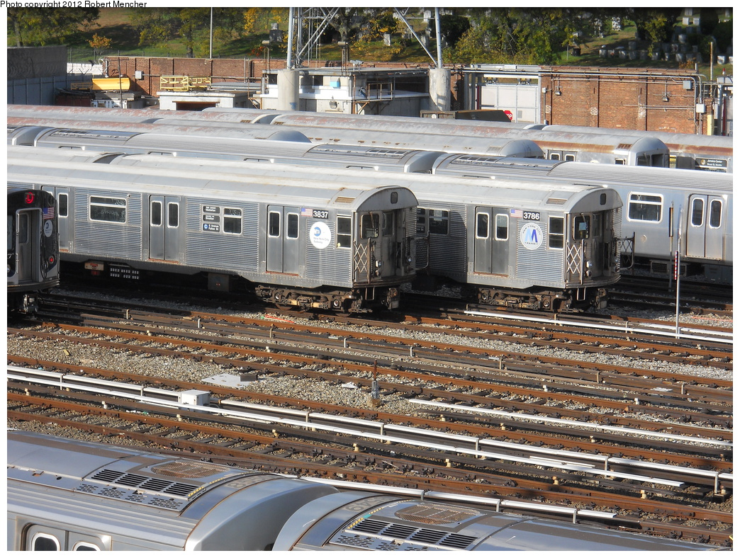 (543k, 1044x788)<br><b>Country:</b> United States<br><b>City:</b> New York<br><b>System:</b> New York City Transit<br><b>Location:</b> East New York Yard/Shops<br><b>Car:</b> R-32 (Budd, 1964)  3837/3786 <br><b>Photo by:</b> Robert Mencher<br><b>Date:</b> 10/21/2012<br><b>Viewed (this week/total):</b> 2 / 244