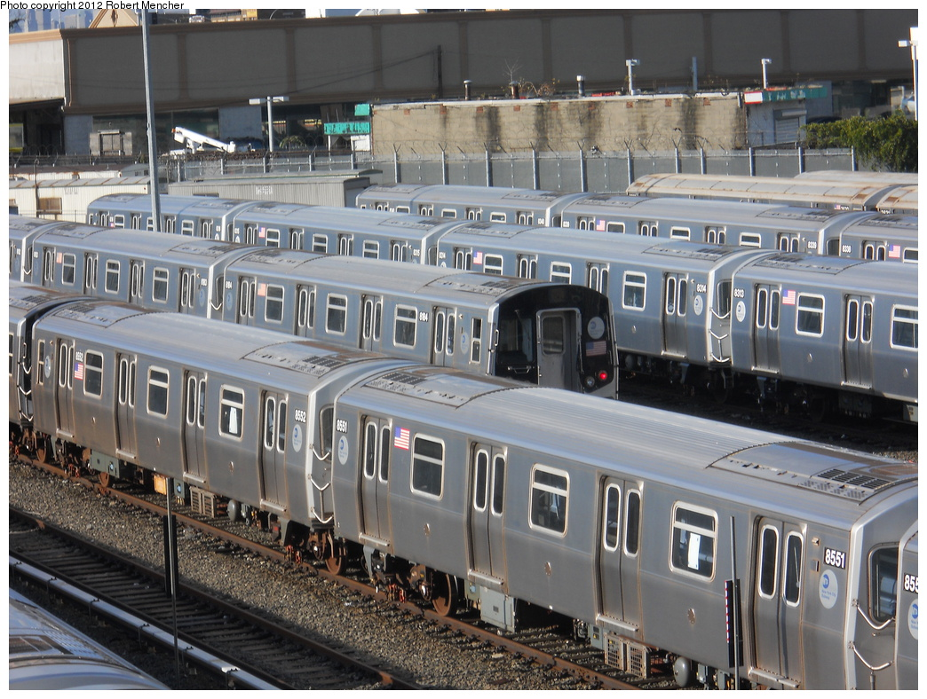 (423k, 1044x788)<br><b>Country:</b> United States<br><b>City:</b> New York<br><b>System:</b> New York City Transit<br><b>Location:</b> East New York Yard/Shops<br><b>Car:</b> R-160A-1 (Alstom, 2005-2008, 4 car sets)  8551 <br><b>Photo by:</b> Robert Mencher<br><b>Date:</b> 10/21/2012<br><b>Viewed (this week/total):</b> 0 / 125