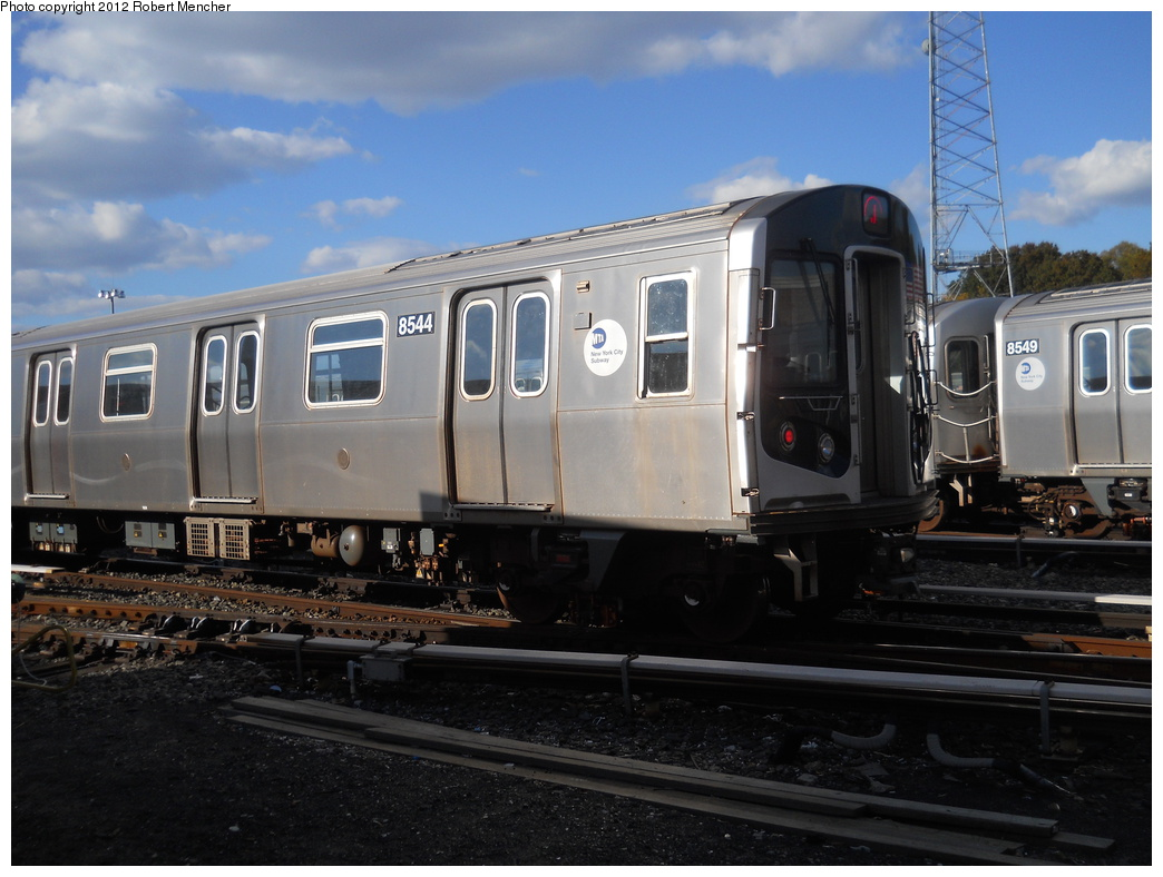(333k, 1044x788)<br><b>Country:</b> United States<br><b>City:</b> New York<br><b>System:</b> New York City Transit<br><b>Location:</b> East New York Yard/Shops<br><b>Car:</b> R-160A-1 (Alstom, 2005-2008, 4 car sets)  8544 <br><b>Photo by:</b> Robert Mencher<br><b>Date:</b> 10/21/2012<br><b>Viewed (this week/total):</b> 0 / 98