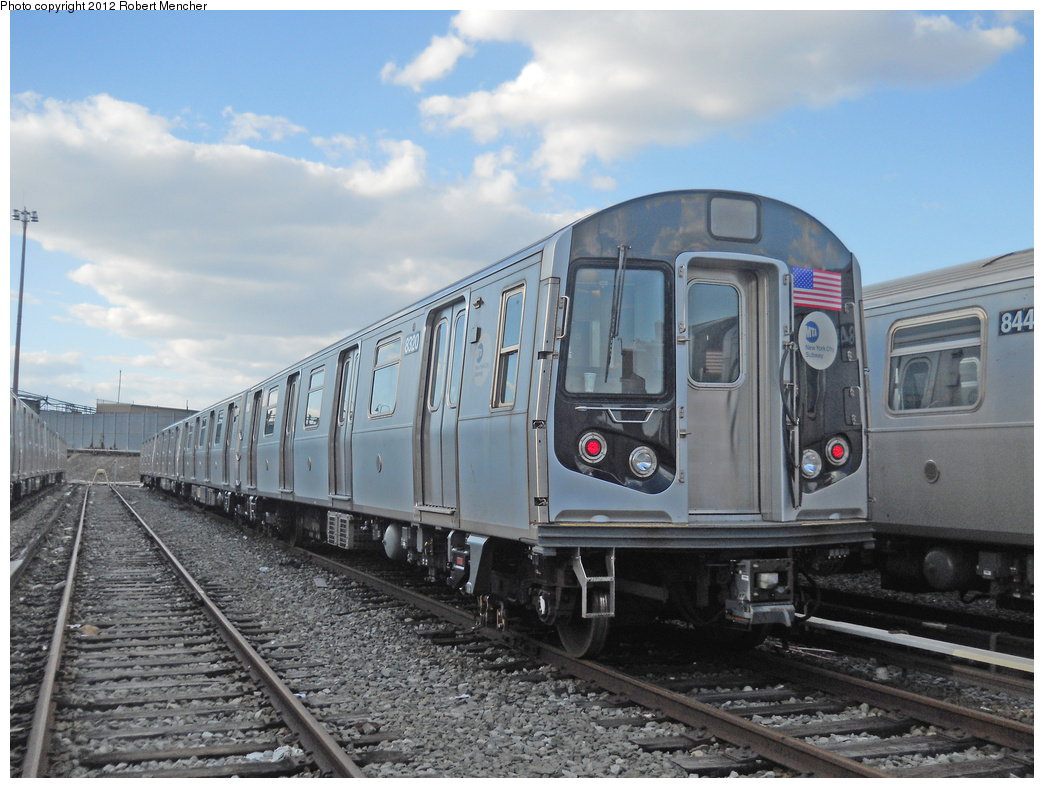 (363k, 1044x788)<br><b>Country:</b> United States<br><b>City:</b> New York<br><b>System:</b> New York City Transit<br><b>Location:</b> East New York Yard/Shops<br><b>Car:</b> R-160A-1 (Alstom, 2005-2008, 4 car sets)  8320 <br><b>Photo by:</b> Robert Mencher<br><b>Date:</b> 10/21/2012<br><b>Viewed (this week/total):</b> 12 / 573