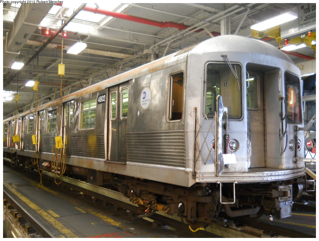 (390k, 1044x788)<br><b>Country:</b> United States<br><b>City:</b> New York<br><b>System:</b> New York City Transit<br><b>Location:</b> East New York Yard/Shops<br><b>Car:</b> R-42 (St. Louis, 1969-1970)  4802 <br><b>Photo by:</b> Robert Mencher<br><b>Date:</b> 10/21/2012<br><b>Viewed (this week/total):</b> 1 / 236