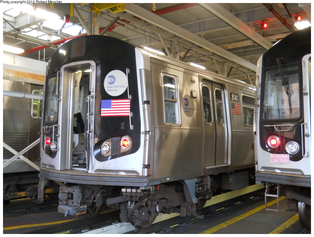 (395k, 1044x788)<br><b>Country:</b> United States<br><b>City:</b> New York<br><b>System:</b> New York City Transit<br><b>Location:</b> East New York Yard/Shops<br><b>Car:</b> R-143 (Kawasaki, 2001-2002) 8141 <br><b>Photo by:</b> Robert Mencher<br><b>Date:</b> 10/21/2012<br><b>Viewed (this week/total):</b> 0 / 430