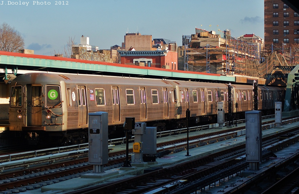 (361k, 1024x666)<br><b>Country:</b> United States<br><b>City:</b> New York<br><b>System:</b> New York City Transit<br><b>Line:</b> IND Crosstown Line<br><b>Location:</b> 4th Avenue <br><b>Route:</b> G<br><b>Car:</b> R-68A (Kawasaki, 1988-1989)  5194 <br><b>Photo by:</b> John Dooley<br><b>Date:</b> 12/18/2012<br><b>Viewed (this week/total):</b> 1 / 1203