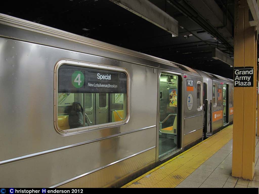 (232k, 1024x768)<br><b>Country:</b> United States<br><b>City:</b> New York<br><b>System:</b> New York City Transit<br><b>Line:</b> IRT Brooklyn Line<br><b>Location:</b> Grand Army Plaza <br><b>Route:</b> 4<br><b>Car:</b> R-62 (Kawasaki, 1983-1985)  1431 <br><b>Photo by:</b> Christopher Henderson<br><b>Date:</b> 11/2/2012<br><b>Viewed (this week/total):</b> 3 / 621