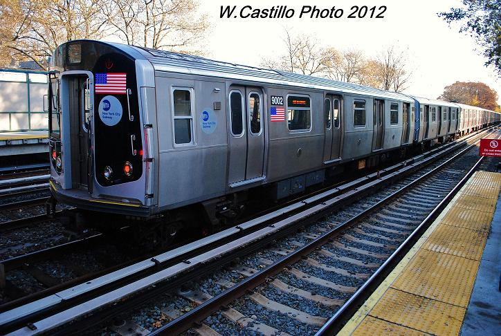 (142k, 724x486)<br><b>Country:</b> United States<br><b>City:</b> New York<br><b>System:</b> New York City Transit<br><b>Line:</b> BMT Brighton Line<br><b>Location:</b> Avenue J <br><b>Car:</b> R-160B (Option 1) (Kawasaki, 2008-2009)  9002 <br><b>Photo by:</b> Wilfredo Castillo<br><b>Date:</b> 11/11/2012<br><b>Notes:</b> Post-Sandy layups on express tracks.<br><b>Viewed (this week/total):</b> 0 / 321