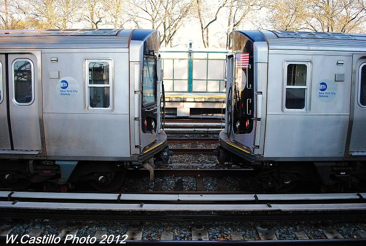 (132k, 724x486)<br><b>Country:</b> United States<br><b>City:</b> New York<br><b>System:</b> New York City Transit<br><b>Line:</b> BMT Brighton Line<br><b>Location:</b> Avenue J <br><b>Car:</b> R-160A/R-160B Series (Number Unknown)  <br><b>Photo by:</b> Wilfredo Castillo<br><b>Date:</b> 11/11/2012<br><b>Notes:</b> Post-Sandy layups on express tracks.<br><b>Viewed (this week/total):</b> 2 / 746