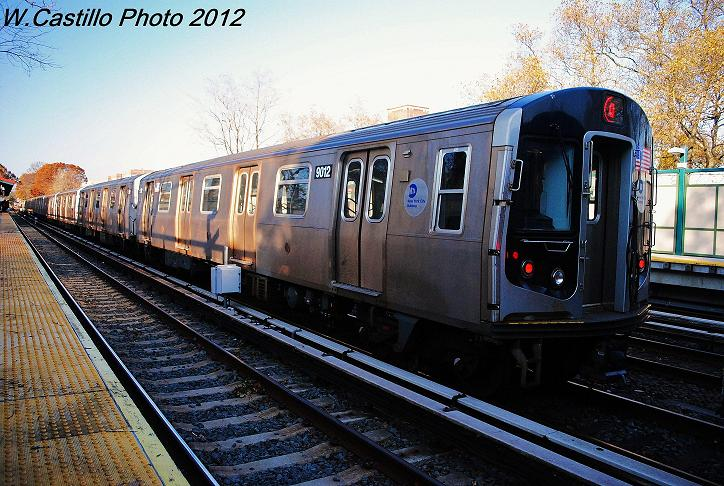(126k, 724x486)<br><b>Country:</b> United States<br><b>City:</b> New York<br><b>System:</b> New York City Transit<br><b>Line:</b> BMT Brighton Line<br><b>Location:</b> Avenue J <br><b>Car:</b> R-160B (Option 1) (Kawasaki, 2008-2009)  9012 <br><b>Photo by:</b> Wilfredo Castillo<br><b>Date:</b> 11/11/2012<br><b>Notes:</b> Post-Sandy layups on express tracks.<br><b>Viewed (this week/total):</b> 1 / 356