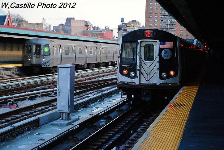 (126k, 724x486)<br><b>Country:</b> United States<br><b>City:</b> New York<br><b>System:</b> New York City Transit<br><b>Line:</b> IND Crosstown Line<br><b>Location:</b> 4th Avenue <br><b>Route:</b> G<br><b>Car:</b> R-68A (Kawasaki, 1988-1989)  5156 <br><b>Photo by:</b> Wilfredo Castillo<br><b>Date:</b> 12/18/2012<br><b>Notes:</b> With R160 F train<br><b>Viewed (this week/total):</b> 4 / 398
