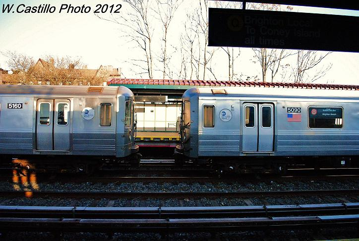 (124k, 724x486)<br><b>Country:</b> United States<br><b>City:</b> New York<br><b>System:</b> New York City Transit<br><b>Line:</b> BMT Brighton Line<br><b>Location:</b> Avenue U <br><b>Route:</b> Layup<br><b>Car:</b> R-68A (Kawasaki, 1988-1989)  5160/5090 <br><b>Photo by:</b> Wilfredo Castillo<br><b>Date:</b> 11/11/2012<br><b>Viewed (this week/total):</b> 3 / 853