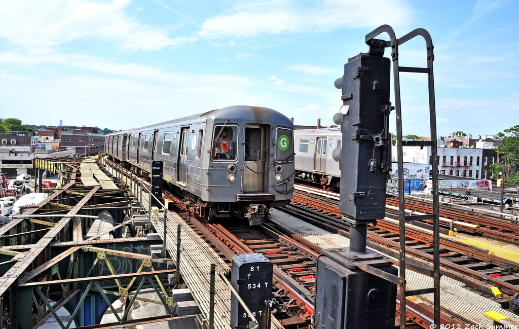 (443k, 1024x649)<br><b>Country:</b> United States<br><b>City:</b> New York<br><b>System:</b> New York City Transit<br><b>Line:</b> BMT Culver Line<br><b>Location:</b> Ditmas Avenue <br><b>Route:</b> G Relay<br><b>Car:</b> R-68A (Kawasaki, 1988-1989)  5106 <br><b>Photo by:</b> Zach Summer<br><b>Date:</b> 6/30/2012<br><b>Viewed (this week/total):</b> 6 / 564
