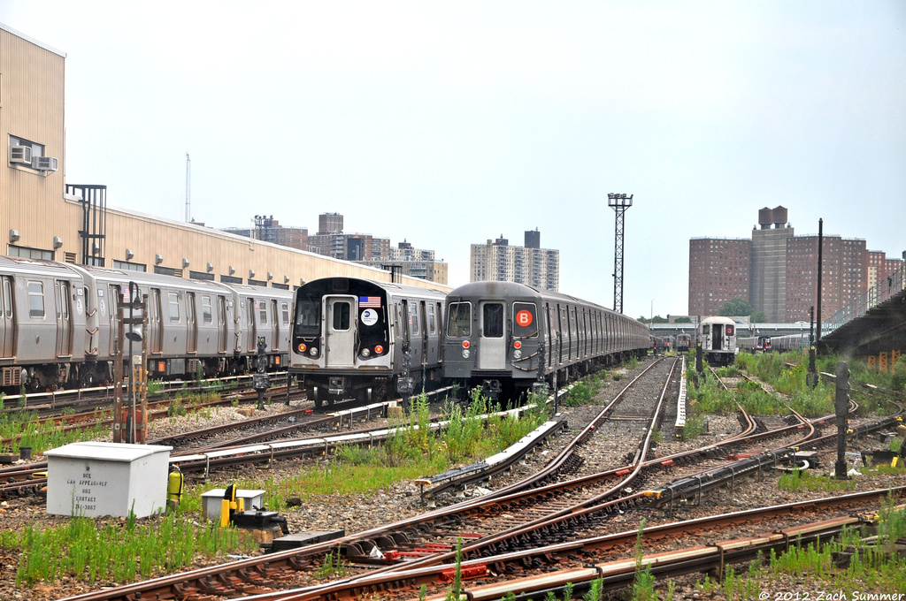 (420k, 1024x680)<br><b>Country:</b> United States<br><b>City:</b> New York<br><b>System:</b> New York City Transit<br><b>Location:</b> Coney Island Yard<br><b>Photo by:</b> Zach Summer<br><b>Date:</b> 7/7/2012<br><b>Notes:</b> R160 and R68A trains in Coney Island Yard<br><b>Viewed (this week/total):</b> 1 / 933
