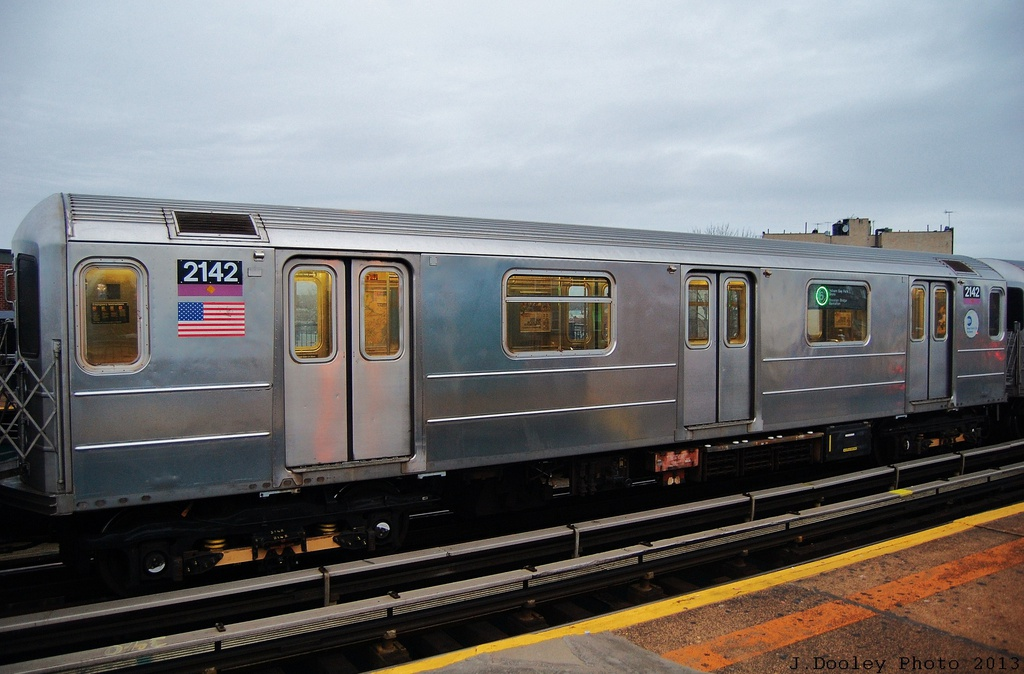 (281k, 1024x674)<br><b>Country:</b> United States<br><b>City:</b> New York<br><b>System:</b> New York City Transit<br><b>Line:</b> IRT Pelham Line<br><b>Location:</b> Buhre Avenue <br><b>Route:</b> 6<br><b>Car:</b> R-62A (Bombardier, 1984-1987)  2142 <br><b>Photo by:</b> John Dooley<br><b>Date:</b> 1/11/2013<br><b>Viewed (this week/total):</b> 4 / 1175