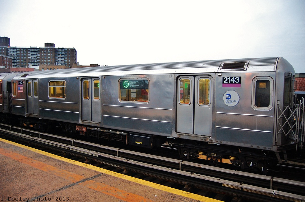 (292k, 1024x678)<br><b>Country:</b> United States<br><b>City:</b> New York<br><b>System:</b> New York City Transit<br><b>Line:</b> IRT Pelham Line<br><b>Location:</b> Buhre Avenue <br><b>Route:</b> 6<br><b>Car:</b> R-62A (Bombardier, 1984-1987)  2143 <br><b>Photo by:</b> John Dooley<br><b>Date:</b> 1/11/2013<br><b>Viewed (this week/total):</b> 0 / 459