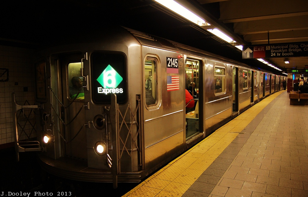 (280k, 1024x655)<br><b>Country:</b> United States<br><b>City:</b> New York<br><b>System:</b> New York City Transit<br><b>Line:</b> IRT East Side Line<br><b>Location:</b> Brooklyn Bridge/City Hall <br><b>Route:</b> 6<br><b>Car:</b> R-62A (Bombardier, 1984-1987)  2145 <br><b>Photo by:</b> John Dooley<br><b>Date:</b> 1/11/2013<br><b>Viewed (this week/total):</b> 2 / 870