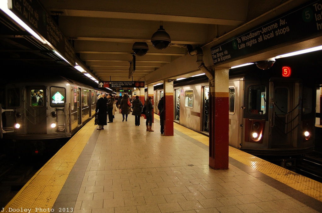 (301k, 1024x679)<br><b>Country:</b> United States<br><b>City:</b> New York<br><b>System:</b> New York City Transit<br><b>Line:</b> IRT East Side Line<br><b>Location:</b> Brooklyn Bridge/City Hall <br><b>Route:</b> 6<br><b>Car:</b> R-62A (Bombardier, 1984-1987)  2145 <br><b>Photo by:</b> John Dooley<br><b>Date:</b> 1/11/2013<br><b>Viewed (this week/total):</b> 0 / 914