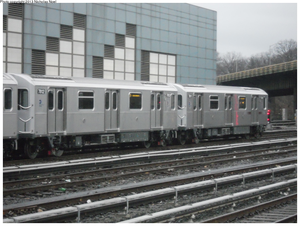 (346k, 1044x788)<br><b>Country:</b> United States<br><b>City:</b> New York<br><b>System:</b> New York City Transit<br><b>Location:</b> East 180th Street Yard<br><b>Car:</b> R-188 (Kawasaki, 2012-) 7812 <br><b>Photo by:</b> Nicholas Noel<br><b>Date:</b> 1/11/2013<br><b>Viewed (this week/total):</b> 1 / 687