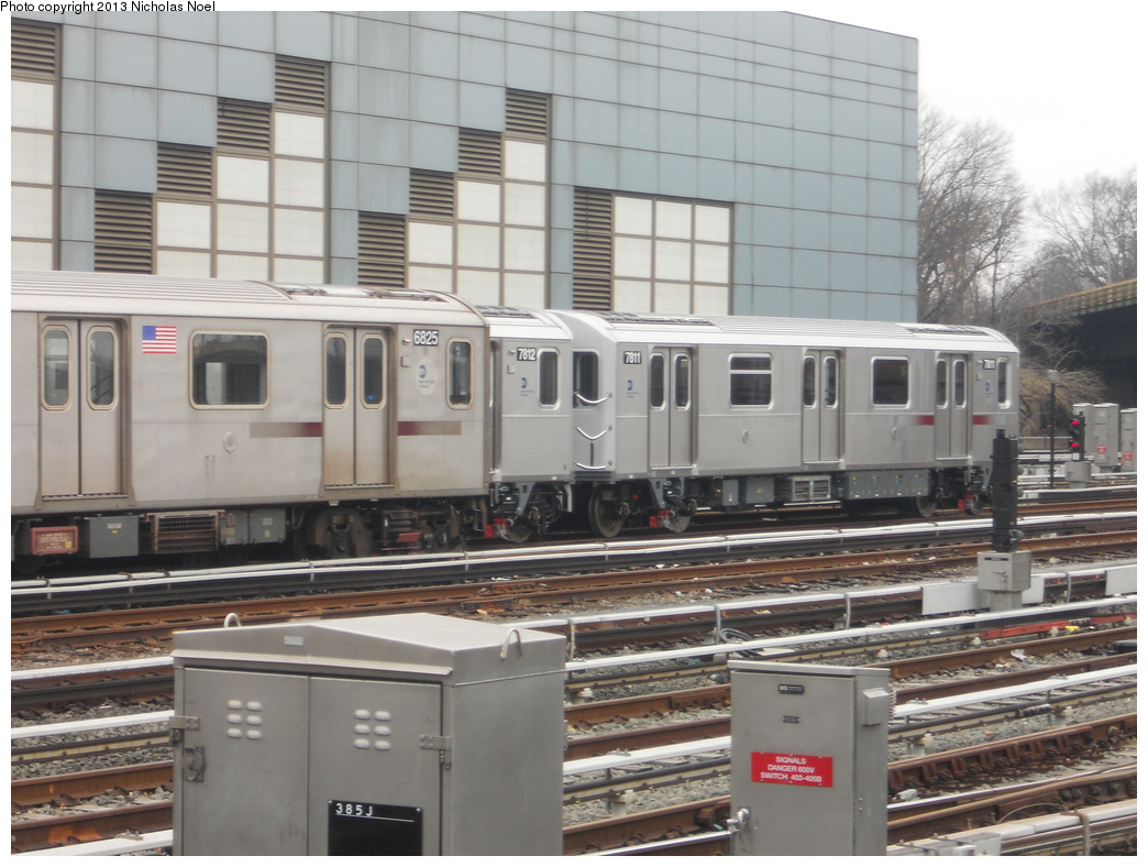 (353k, 1044x788)<br><b>Country:</b> United States<br><b>City:</b> New York<br><b>System:</b> New York City Transit<br><b>Location:</b> East 180th Street Yard<br><b>Car:</b> R-188 (Kawasaki, 2012-) 7811 <br><b>Photo by:</b> Nicholas Noel<br><b>Date:</b> 1/12/2013<br><b>Viewed (this week/total):</b> 0 / 783