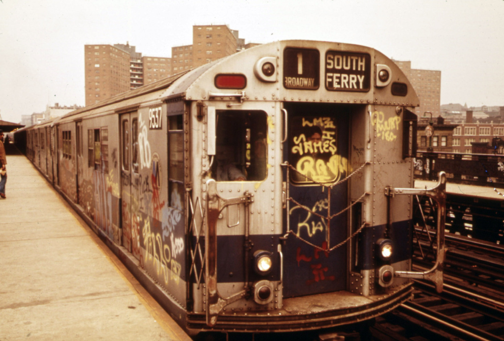 (296k, 1024x693)<br><b>Country:</b> United States<br><b>City:</b> New York<br><b>System:</b> New York City Transit<br><b>Line:</b> IRT West Side Line<br><b>Location:</b> 125th Street <br><b>Route:</b> 1<br><b>Car:</b> R-36 Main Line (St. Louis, 1964) 9537 <br><b>Photo by:</b> Erik Calonius, US National Archives<br><b>Collection of:</b> Flickr Commons<br><b>Date:</b> 5/1973<br><b>Viewed (this week/total):</b> 2 / 585
