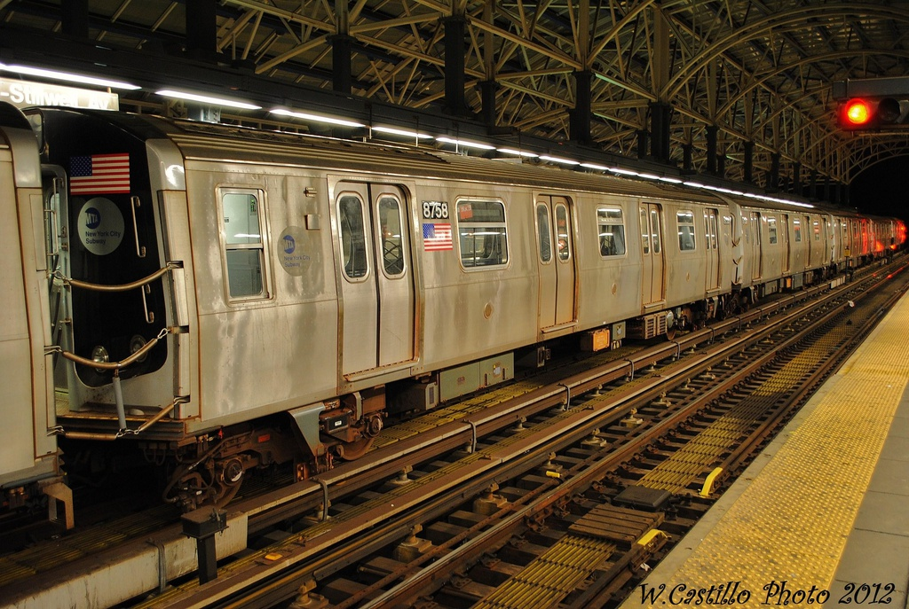 (379k, 1024x687)<br><b>Country:</b> United States<br><b>City:</b> New York<br><b>System:</b> New York City Transit<br><b>Location:</b> Coney Island/Stillwell Avenue<br><b>Car:</b> R-160B (Kawasaki, 2005-2008)  8758 <br><b>Photo by:</b> Wilfredo Castillo<br><b>Date:</b> 11/8/2012<br><b>Viewed (this week/total):</b> 3 / 359