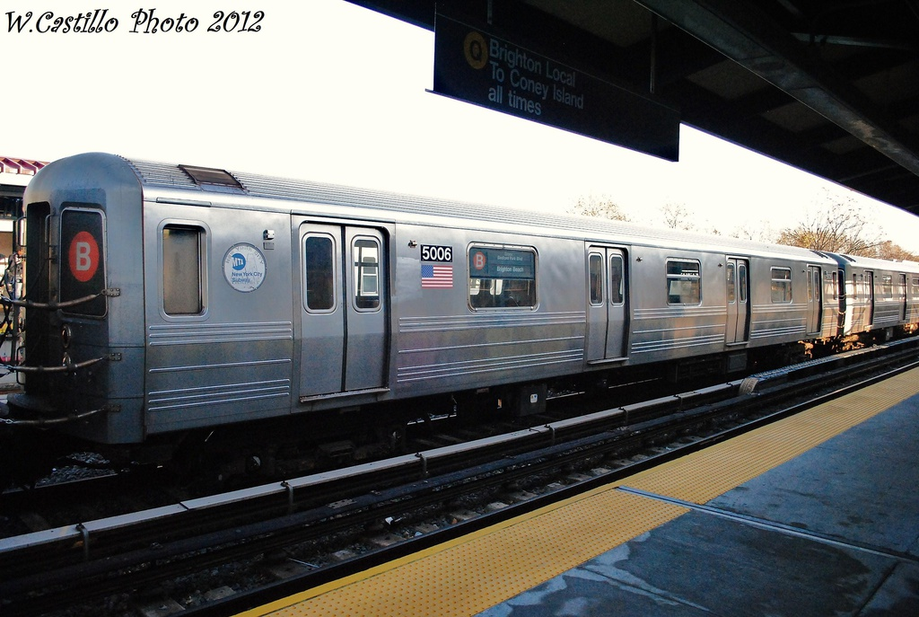 (295k, 1024x687)<br><b>Country:</b> United States<br><b>City:</b> New York<br><b>System:</b> New York City Transit<br><b>Line:</b> BMT Brighton Line<br><b>Location:</b> Neck Road <br><b>Route:</b> B<br><b>Car:</b> R-68A (Kawasaki, 1988-1989)  5006 <br><b>Photo by:</b> Wilfredo Castillo<br><b>Date:</b> 11/11/2012<br><b>Viewed (this week/total):</b> 2 / 594