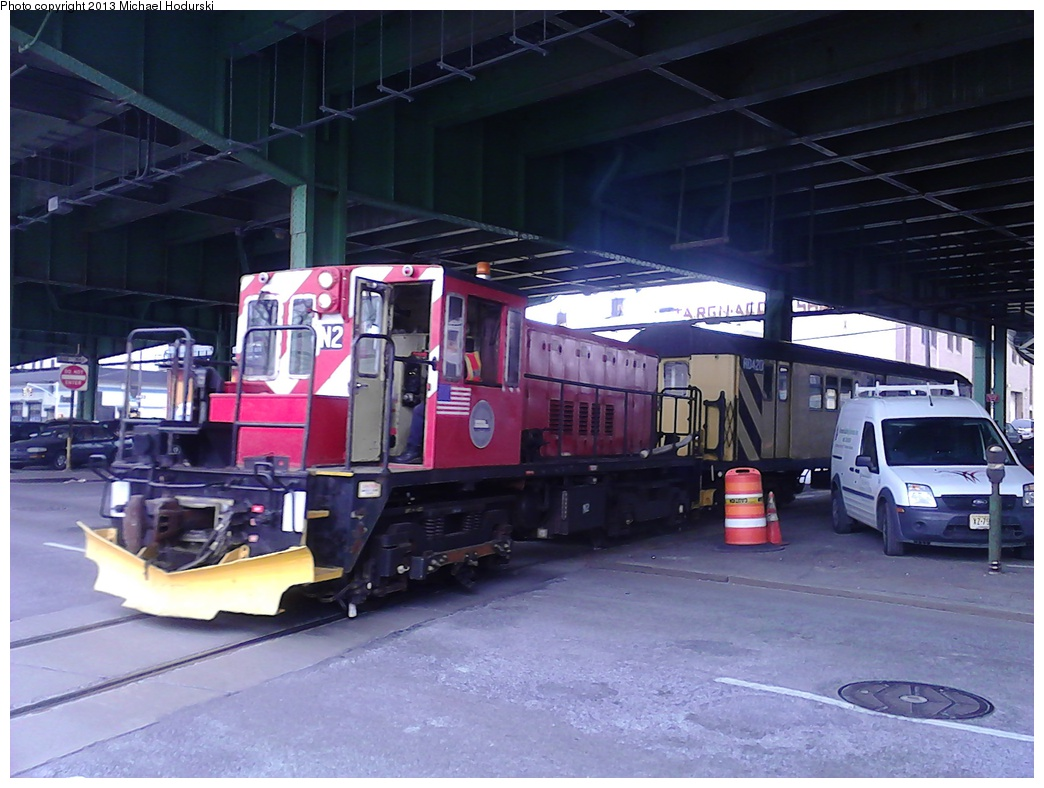 (280k, 1044x788)<br><b>Country:</b> United States<br><b>City:</b> New York<br><b>System:</b> New York City Transit<br><b>Line:</b> South Brooklyn Railway<br><b>Location:</b> 3rd Avenue/38th St Crossing (Gowanus) (SBK)<br><b>Car:</b> R-47 (SBK) Locomotive  N2 <br><b>Photo by:</b> Michael Hodurski<br><b>Date:</b> 2/7/2013<br><b>Viewed (this week/total):</b> 1 / 378