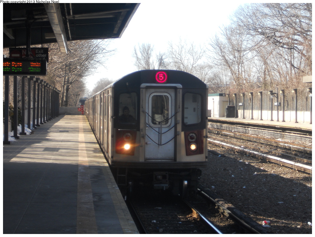 (389k, 1044x788)<br><b>Country:</b> United States<br><b>City:</b> New York<br><b>System:</b> New York City Transit<br><b>Line:</b> IRT Dyre Ave. Line<br><b>Location:</b> Gun Hill Road <br><b>Route:</b> 5<br><b>Car:</b> R-142 or R-142A (Number Unknown)  <br><b>Photo by:</b> Nicholas Noel<br><b>Date:</b> 2/18/2013<br><b>Viewed (this week/total):</b> 1 / 391