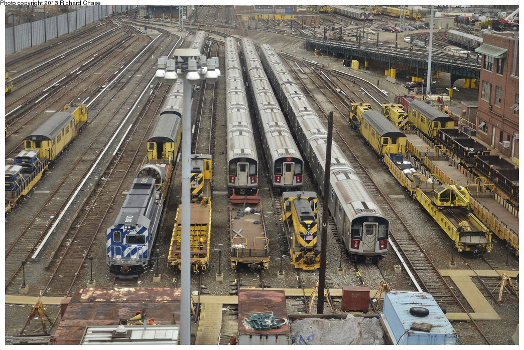 (443k, 1044x698)<br><b>Country:</b> United States<br><b>City:</b> New York<br><b>System:</b> New York City Transit<br><b>Location:</b> Westchester Yard<br><b>Car:</b> R-156 Diesel-Electric Locomotive (MPI, 2012-2013) 912 <br><b>Photo by:</b> Richard Chase<br><b>Date:</b> 3/22/2013<br><b>Notes:</b> With locos 887, 898, 903, and others<br><b>Viewed (this week/total):</b> 0 / 1205