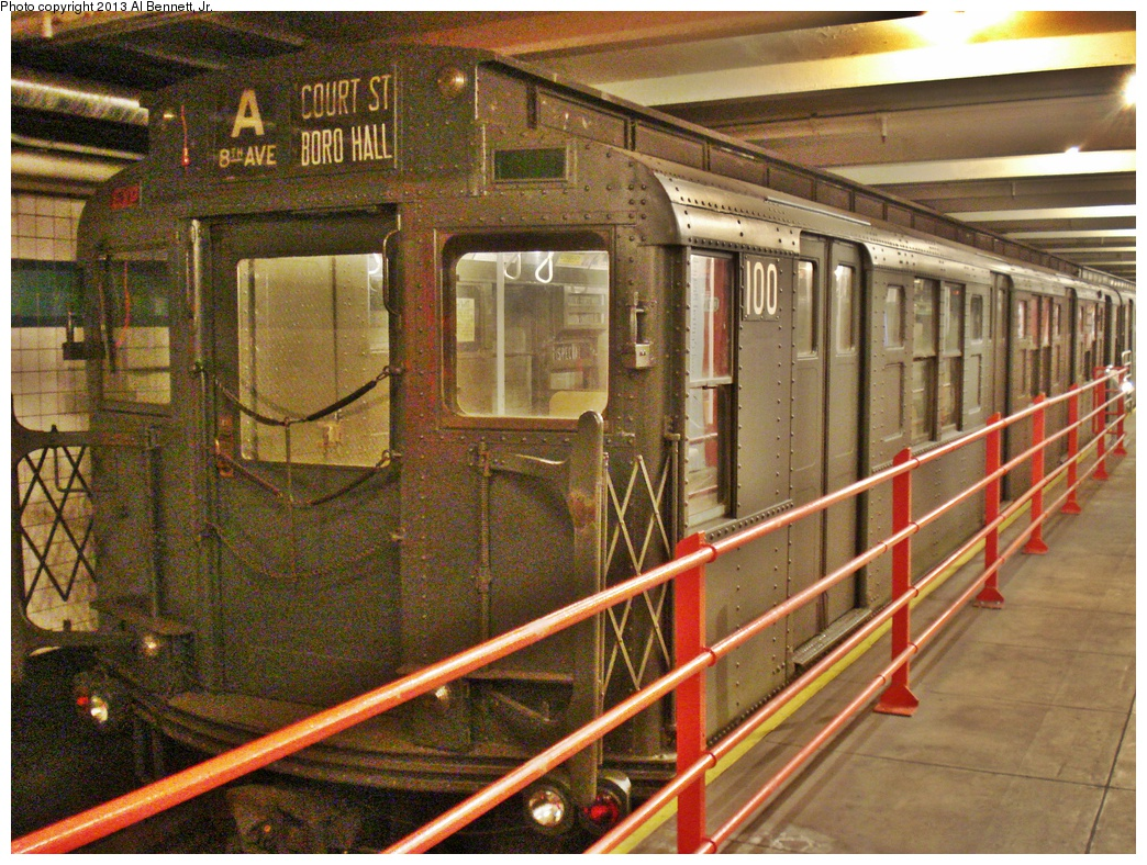 (433k, 1044x788)<br><b>Country:</b> United States<br><b>City:</b> New York<br><b>System:</b> New York City Transit<br><b>Location:</b> New York Transit Museum<br><b>Car:</b> R-1 (American Car & Foundry, 1930-1931) 100 <br><b>Photo by:</b> Al Bennett, Jr.<br><b>Date:</b> 4/4/2013<br><b>Viewed (this week/total):</b> 2 / 577