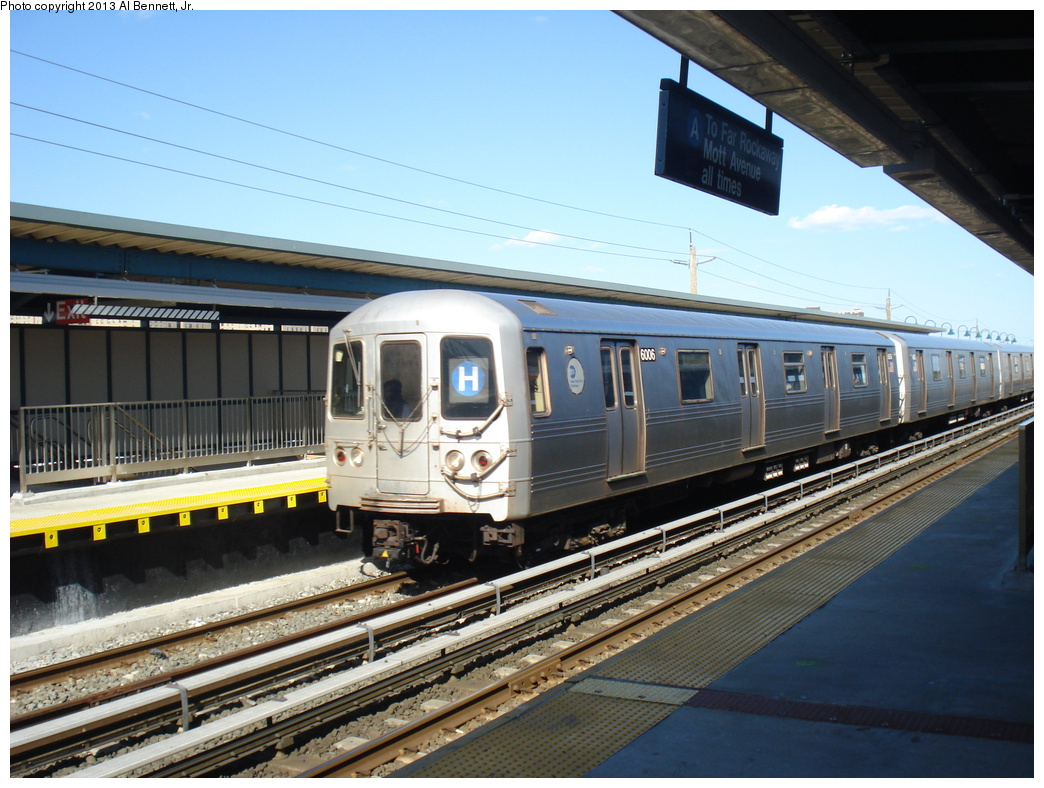 (353k, 1044x788)<br><b>Country:</b> United States<br><b>City:</b> New York<br><b>System:</b> New York City Transit<br><b>Line:</b> IND Rockaway<br><b>Location:</b> Beach 44th Street/Frank Avenue <br><b>Route:</b> H<br><b>Car:</b> R-46 (Pullman-Standard, 1974-75) 6006 <br><b>Photo by:</b> Al Bennett, Jr.<br><b>Date:</b> 4/3/2013<br><b>Viewed (this week/total):</b> 1 / 624