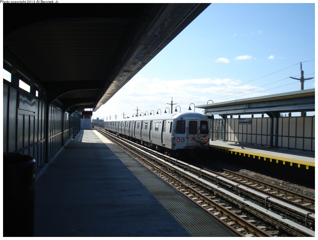 (294k, 1044x788)<br><b>Country:</b> United States<br><b>City:</b> New York<br><b>System:</b> New York City Transit<br><b>Line:</b> IND Rockaway<br><b>Location:</b> Beach 44th Street/Frank Avenue <br><b>Route:</b> H<br><b>Car:</b> R-46 (Pullman-Standard, 1974-75)  <br><b>Photo by:</b> Al Bennett, Jr.<br><b>Date:</b> 4/3/2013<br><b>Viewed (this week/total):</b> 0 / 348