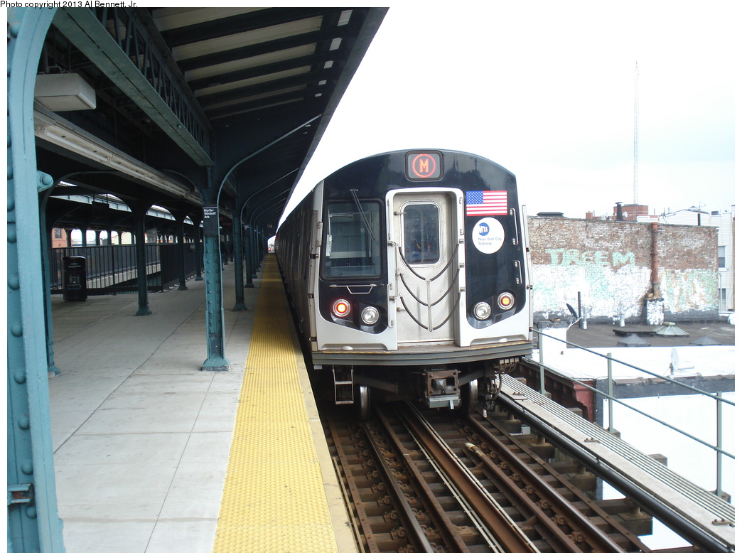 (320k, 1044x788)<br><b>Country:</b> United States<br><b>City:</b> New York<br><b>System:</b> New York City Transit<br><b>Line:</b> BMT Myrtle Avenue Line<br><b>Location:</b> Wyckoff Avenue <br><b>Route:</b> M<br><b>Car:</b> R-160A/R-160B Series (Number Unknown)  <br><b>Photo by:</b> Al Bennett, Jr.<br><b>Date:</b> 4/1/2013<br><b>Viewed (this week/total):</b> 1 / 1077
