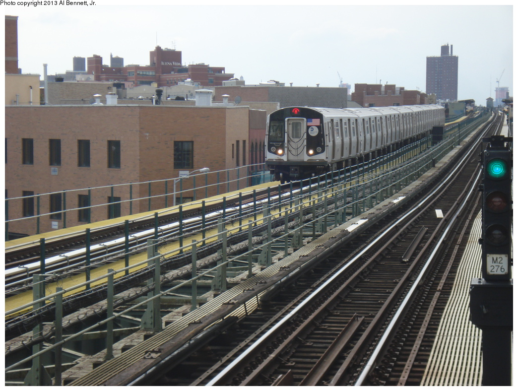 (349k, 1044x788)<br><b>Country:</b> United States<br><b>City:</b> New York<br><b>System:</b> New York City Transit<br><b>Line:</b> BMT Myrtle Avenue Line<br><b>Location:</b> Knickerbocker Avenue <br><b>Route:</b> M<br><b>Car:</b> R-160A-1 (Alstom, 2005-2008, 4 car sets)  8456 <br><b>Photo by:</b> Al Bennett, Jr.<br><b>Date:</b> 4/1/2013<br><b>Viewed (this week/total):</b> 0 / 277