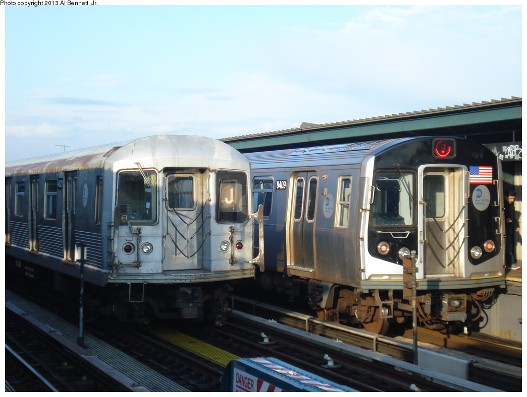 (280k, 1044x788)<br><b>Country:</b> United States<br><b>City:</b> New York<br><b>System:</b> New York City Transit<br><b>Line:</b> BMT Nassau Street/Jamaica Line<br><b>Location:</b> 111th Street <br><b>Route:</b> J<br><b>Car:</b> R-160A-1 (Alstom, 2005-2008, 4 car sets)  8409 <br><b>Photo by:</b> Al Bennett, Jr.<br><b>Date:</b> 4/1/2013<br><b>Viewed (this week/total):</b> 0 / 887