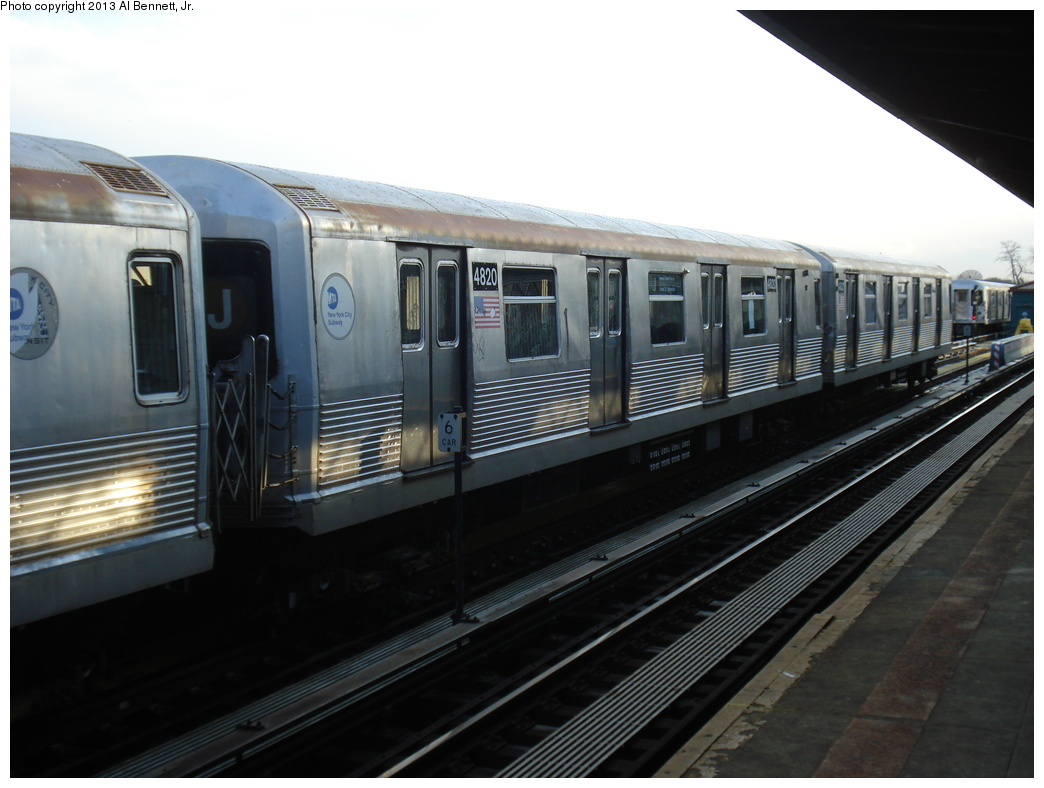 (260k, 1044x788)<br><b>Country:</b> United States<br><b>City:</b> New York<br><b>System:</b> New York City Transit<br><b>Line:</b> BMT Nassau Street/Jamaica Line<br><b>Location:</b> 111th Street <br><b>Route:</b> J layup<br><b>Car:</b> R-42 (St. Louis, 1969-1970)  4820 <br><b>Photo by:</b> Al Bennett, Jr.<br><b>Date:</b> 4/1/2013<br><b>Viewed (this week/total):</b> 1 / 228