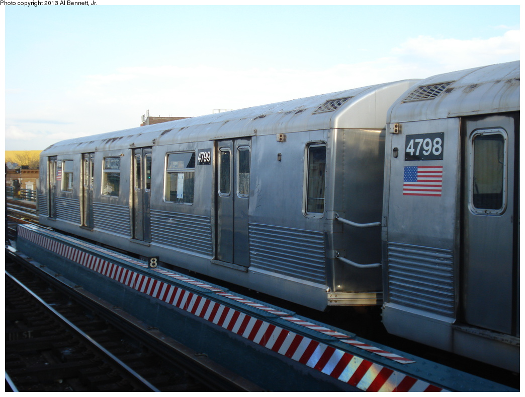 (269k, 1044x788)<br><b>Country:</b> United States<br><b>City:</b> New York<br><b>System:</b> New York City Transit<br><b>Line:</b> BMT Nassau Street/Jamaica Line<br><b>Location:</b> 111th Street <br><b>Route:</b> J layup<br><b>Car:</b> R-42 (St. Louis, 1969-1970)  4799 <br><b>Photo by:</b> Al Bennett, Jr.<br><b>Date:</b> 4/1/2013<br><b>Viewed (this week/total):</b> 1 / 210