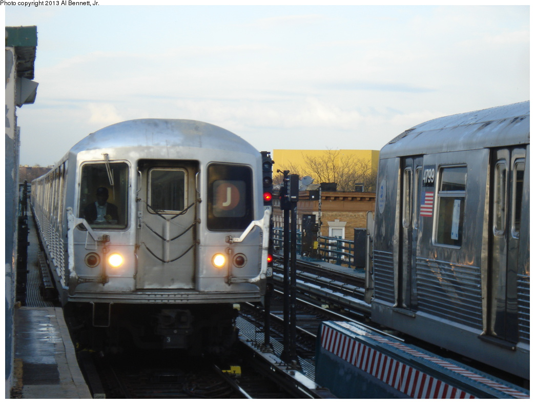(258k, 1044x788)<br><b>Country:</b> United States<br><b>City:</b> New York<br><b>System:</b> New York City Transit<br><b>Line:</b> BMT Nassau Street/Jamaica Line<br><b>Location:</b> 111th Street <br><b>Route:</b> J<br><b>Car:</b> R-42 (St. Louis, 1969-1970)   <br><b>Photo by:</b> Al Bennett, Jr.<br><b>Date:</b> 4/1/2013<br><b>Viewed (this week/total):</b> 3 / 791