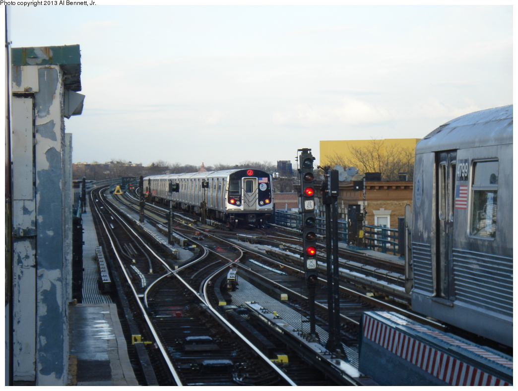 (290k, 1044x788)<br><b>Country:</b> United States<br><b>City:</b> New York<br><b>System:</b> New York City Transit<br><b>Line:</b> BMT Nassau Street/Jamaica Line<br><b>Location:</b> 111th Street <br><b>Route:</b> J<br><b>Car:</b> R-160A/R-160B Series (Number Unknown)  <br><b>Photo by:</b> Al Bennett, Jr.<br><b>Date:</b> 4/1/2013<br><b>Viewed (this week/total):</b> 7 / 932