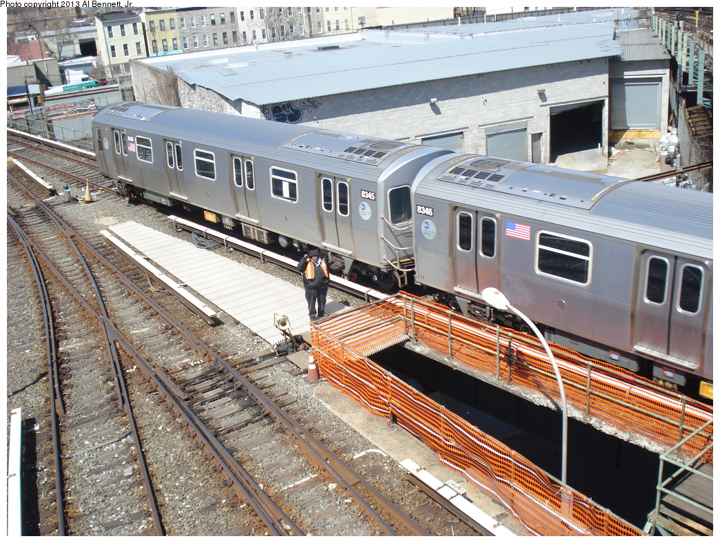 (525k, 1044x788)<br><b>Country:</b> United States<br><b>City:</b> New York<br><b>System:</b> New York City Transit<br><b>Location:</b> East New York Yard/Shops<br><b>Car:</b> R-160A-1 (Alstom, 2005-2008, 4 car sets)  8345 <br><b>Photo by:</b> Al Bennett, Jr.<br><b>Date:</b> 4/3/2013<br><b>Viewed (this week/total):</b> 2 / 539