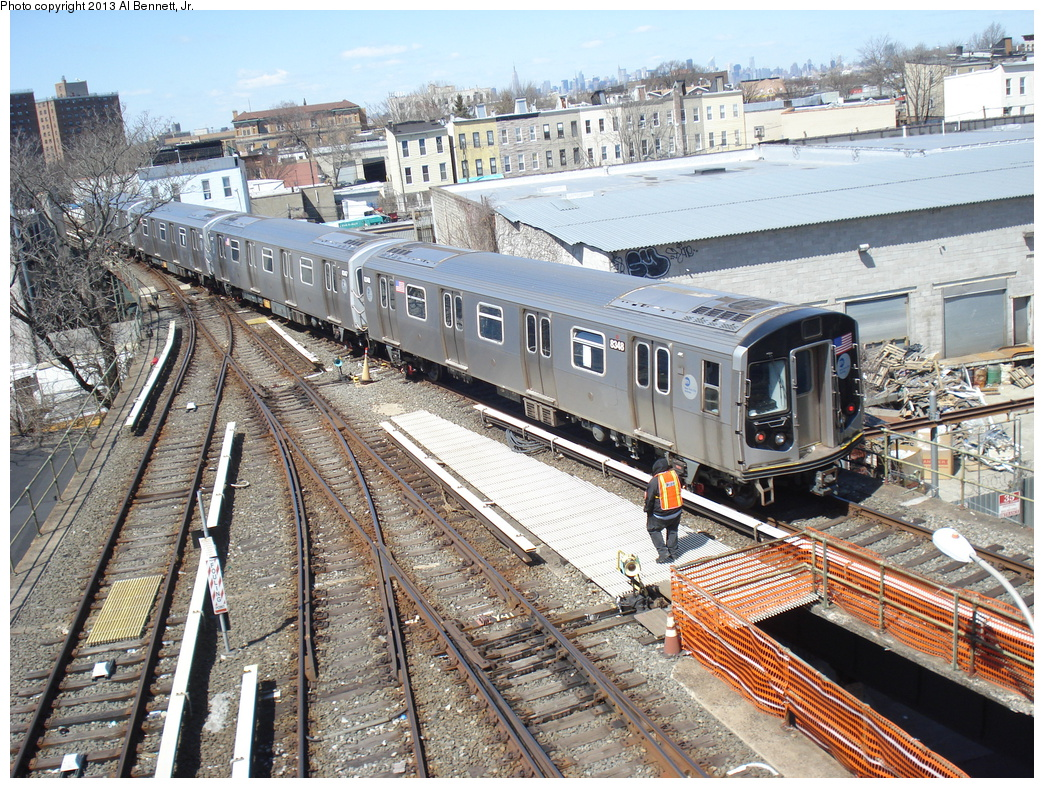 (521k, 1044x788)<br><b>Country:</b> United States<br><b>City:</b> New York<br><b>System:</b> New York City Transit<br><b>Location:</b> East New York Yard/Shops<br><b>Car:</b> R-160A-1 (Alstom, 2005-2008, 4 car sets)  8348 <br><b>Photo by:</b> Al Bennett, Jr.<br><b>Date:</b> 4/3/2013<br><b>Viewed (this week/total):</b> 0 / 558