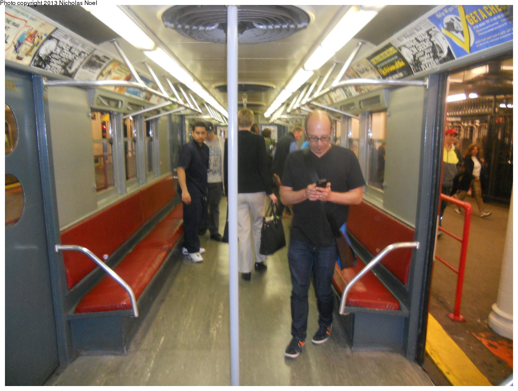 (348k, 1044x788)<br><b>Country:</b> United States<br><b>City:</b> New York<br><b>System:</b> New York City Transit<br><b>Line:</b> IRT Times Square-Grand Central Shuttle<br><b>Location:</b> Grand Central <br><b>Route:</b> Museum Train Service<br><b>Car:</b> R-15 (American Car & Foundry, 1950) 6239 <br><b>Photo by:</b> Nicholas Noel<br><b>Date:</b> 5/12/2013<br><b>Notes:</b> National Train Day service.<br><b>Viewed (this week/total):</b> 0 / 699