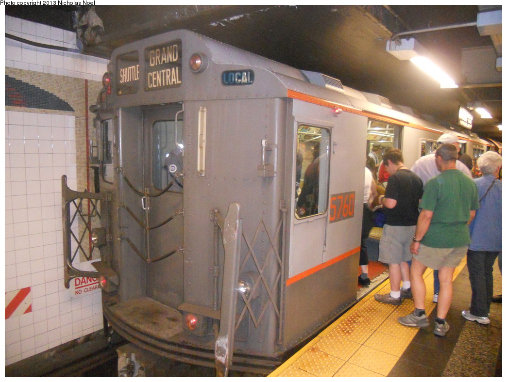 (385k, 1044x788)<br><b>Country:</b> United States<br><b>City:</b> New York<br><b>System:</b> New York City Transit<br><b>Line:</b> IRT Times Square-Grand Central Shuttle<br><b>Location:</b> Grand Central <br><b>Route:</b> Museum Train Service<br><b>Car:</b> R-12 (American Car & Foundry, 1948) 5760 <br><b>Photo by:</b> Nicholas Noel<br><b>Date:</b> 5/11/2013<br><b>Notes:</b> National Train Day service.<br><b>Viewed (this week/total):</b> 0 / 456