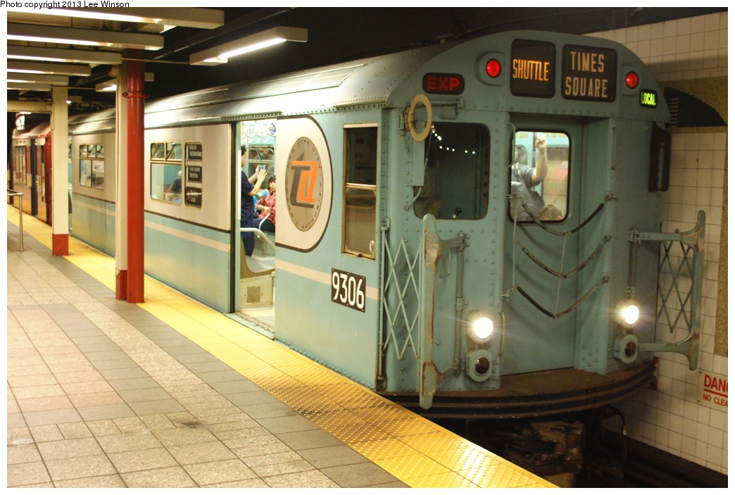 (284k, 1044x703)<br><b>Country:</b> United States<br><b>City:</b> New York<br><b>System:</b> New York City Transit<br><b>Line:</b> IRT Times Square-Grand Central Shuttle<br><b>Location:</b> Grand Central <br><b>Car:</b> R-33 World's Fair (St. Louis, 1963-64) 9306 <br><b>Photo by:</b> Lee Winson<br><b>Date:</b> 5/12/2013<br><b>Notes:</b> IRT Grand Central Shuttle, #9306.  Grand Central Parade of Trains.<br><b>Viewed (this week/total):</b> 0 / 526