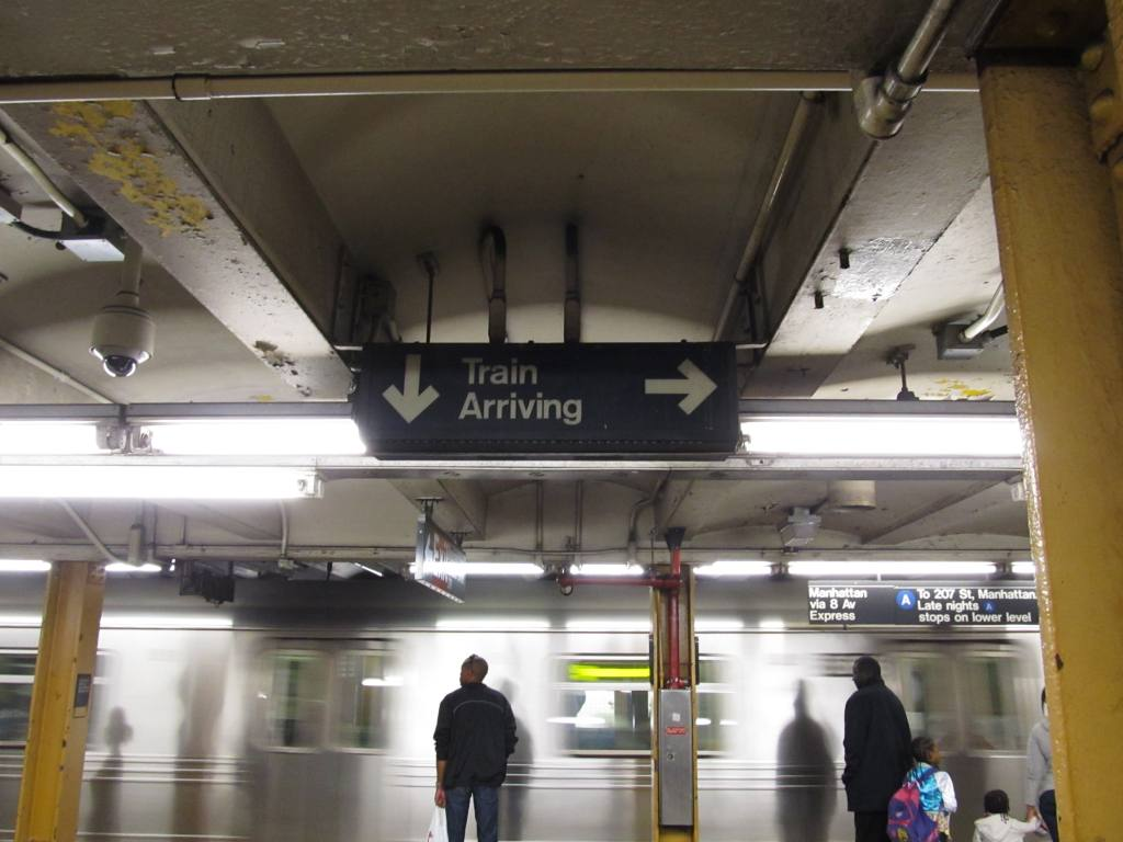 (97k, 1024x768)<br><b>Country:</b> United States<br><b>City:</b> New York<br><b>System:</b> New York City Transit<br><b>Line:</b> IND Fulton Street Line<br><b>Location:</b> Nostrand Avenue <br><b>Photo by:</b> Robbie Rosenfeld<br><b>Date:</b> 4/28/2013<br><b>Notes:</b> Train arriving indicator<br><b>Viewed (this week/total):</b> 0 / 1043